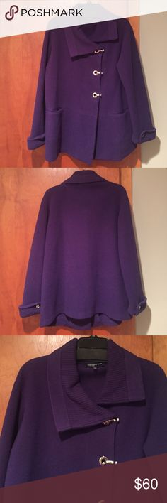 Jones New York women's jacket Lightweight women's purple jacket. Mental fasteners with one inner snap at the top. Size large. Gently worn Jones New York Jackets & Coats