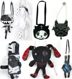 Animal-shaped purses, bunny bags, Goth cat knapsack. Crazy cute Japanese bags.