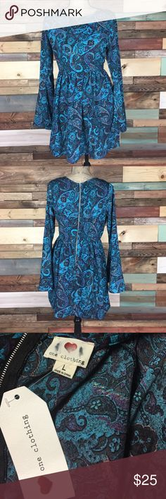 "NWT Blue Paisley Boho Flowy Dress - L NWT Blue Paisley Boho Flowy Dress - L // bell sleeves, exposed back zipper. Bust: 19.5"" (laying flat) // Waist: 14.5""  (laying flat) // Length: 33"" one clothing Dresses"