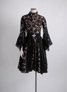 1960s dramatic sleeves chiffon cocktail dress hemlockvintage.com
