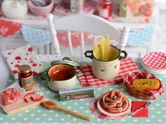 Miniature Making Spaghetti Set by CuteinMiniature on Etsy