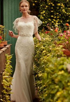 pretty sheer top   BHLDN wedding dress