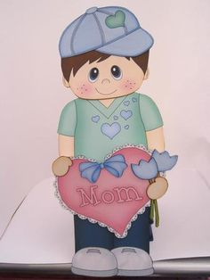 Card Gallery - 3D On the Shelf Card Kit - Little Boy Joey's Heart for Mom