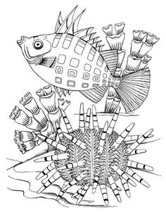 Coral Reef Coloring Book sample