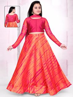 Shop Printed orange silk lehenga choli online from India. Kids Lehenga, Lehenga Choli, Long Frocks For Girls, Gown Party Wear, Kids Party Wear, Kids Ethnic Wear, Neck Designs For Suits, Kids Gown, Lehenga Online