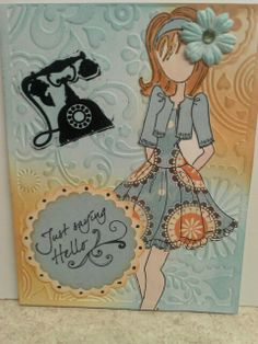 Julie Nutting mixed media doll card