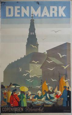 1936 Copenhagen Denmark Travel Poster by OutofCopenhagen on Etsy