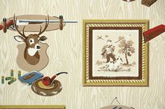 1950's Vintage Wallpaper  Hunting and Fishing  by HannahsTreasures