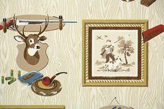 1950's Vintage Wallpaper  Hunting and Fishing  by HannahsTreasures