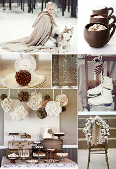 The warm cream, white and brown tones of this winter wedding are really beautiful - we wouldn't mind a hot chocolate on our wedding day either! Cozy Wedding, Woodland Wedding, Perfect Wedding, Rustic Wedding, Dream Wedding, Wedding Themes, Wedding Colors, Wedding Events, Wedding Decorations