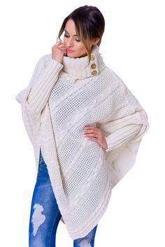 Women s Polo Neck Knit Stylish Warm Poncho Jumper Sweater