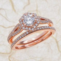14k Rose Gold Engagement Ring And Band -Round Brilliant Diamond Wedding Set Halo Diamond Ring by EJCOLLECTIONS on Etsy https://www.etsy.com/listing/270254781/14k-rose-gold-engagement-ring-and-band