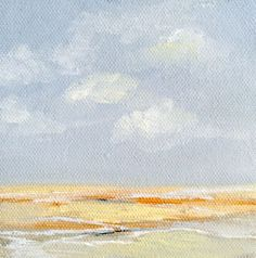 Sunny waves and billowy clouds in this Zenscape oil painting by Judy Jacobs
