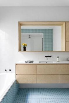 Plywood kitchen and bathroom inspiration – Urbansize Bathroom Cabinetry, Ensuite Bathrooms, Small Bathrooms, Pastel Bathroom, Modern Bathroom, Simple Bathroom Designs, Plywood Kitchen, Melbourne House, Scandinavian Bathroom