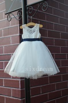 Ivory Lace Navy blue sash/bow Flower Girl Dress White by sixdream