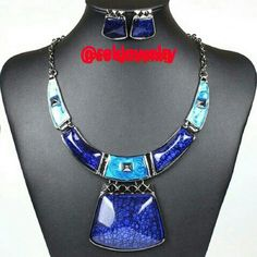 Blue Set Gun Black Plated Filled in Resin Oil Painted High Quality Baroque Style Necklace with Earrings Set Jewelry Necklaces