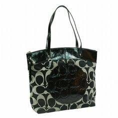 a14983265ecc Coach Signature Laura North South Bag Purse Tote 18335 Black White  Signature Sateen Fabric With Leather Trim