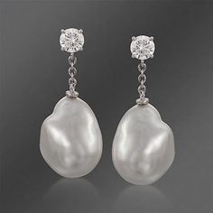 Mikimoto 10mm South Sea Pearl  and 1.00 ct. t.w. Diamond Drop Earrings in 18kt White Gold