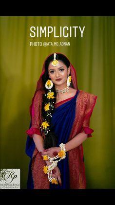 Traditional Bangladeshi bride at her Gaye holud Bengali Wedding, Bengali Bride, Bridal Looks, Bridal Style, Mehndi Decor, Mehendi, Wedding Book, Dream Wedding, Bangladeshi Saree