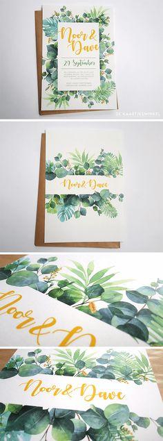 Voor Noor en Dave hebben wij een mooie botanische trouwkaart voor Noor & Dave met een tropisch tintje door de mix met tropische bladeren.