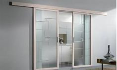 Porte scorrevoli in vetro - Porta con cornice in legno bianco ...