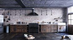 Mark Lewis Interior Design London Loft Kitchen Old Brick Salvaged Wood Marble Brass, Rory Gardiner Photo