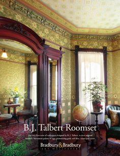 British Aesthetic Movement Collection inspired by B.J. Talbert at #BradburyWallpaper