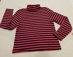 Rafaella L large Womens Top Pink and Black Striped Turtleneck Long Sleeve casual