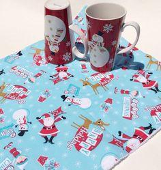 Christmas Dish Drying Mat Red & Aqua Santa by MakingSomethingHappy