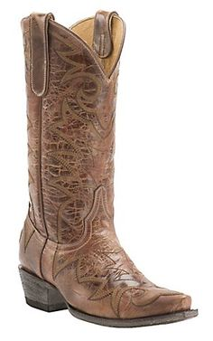 Cavender's by Old Gringo Women's Vintage Tan Goat with Fancy Stitch Snip Toe Western Boots   Cavender's