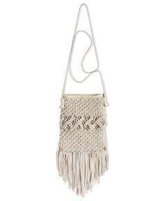 Lucky Brand Handbag, Daisy Macramé Fringe Crossbody - Crossbody & Messenger Bags - Handbags & Accessories - Macy's  [White is cute and feminine]