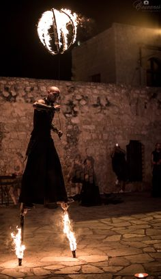 Medieval Festival 2015 in Ayia Napa Cyprus. Final day, tricks with fire under the sound of traditional music.