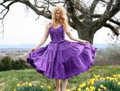 Vintage 70s Sun Dress S Purple Calico Print by RubyChicBoutique, $87.00