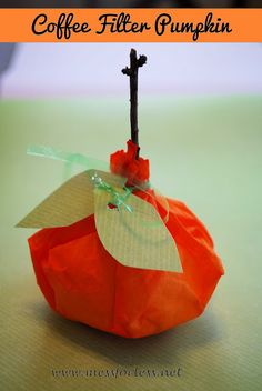 Coffee Filter Pumpkins - Mess for Less