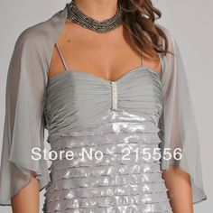 Sheer, draped silver dress shrug