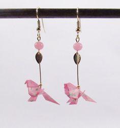 Boucles d'oreilles perruches en origami MIMI par Coquetteenpapier