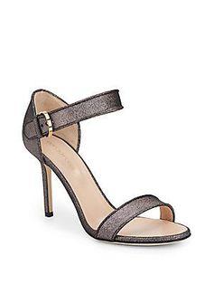 d04405615 Sergio Rossi Metallic Leather Strappy Sandals - Dark Silver - Size 38  Sergio Rossi