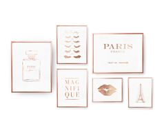SET of 6 Prints French Decor Paris Prints Rose by LovelyPosters