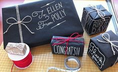 chalkboard effect gift wrapping