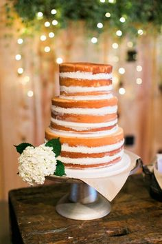 Simple white naked cake | Image by Elisabeth Carol