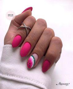 Classy Nails, Stylish Nails, Simple Nails, Watermelon Nail Designs, Watermelon Nails, Dream Nails, Love Nails, Pretty Nails, Manicure