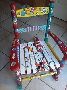 Cat Dr Decoupage Rocking Chair from Olivia Grace Nolan Painting Kids Furniture, Diy Kids Furniture, Hand Painted Furniture, Funky Furniture, Chair Painting, Furniture Makeover, Painted Wooden Chairs, Painted Rocking Chairs, Dr. Seuss
