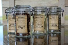 Creative: Eleven Of The Best Printable Spice Labels  (DIY Spice Jar Labels at DIYdiva)  //  ♡ LOVE THESE!!! HAS BOTH CULINARY AND MEDICINAL PURPOSES!  ♥A***(Health & Printables)