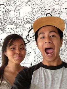 #plogyourworld #ScoopofArt #backdrop #background #art #drawing #painting #decal #artistic #smiles #silly #pose #happiness #promotion #life #live #moments #memories #couple #friends