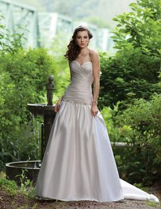 A-line Sweetheart Ruched Bodice Beaded Dropped Waistline Satin Wedding Dress-wa0245, $256.95