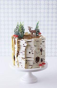How To Make A Winter Birch Tree Cake - backen - Kuchen Bilder Mini Cakes, Cupcake Cakes, Birch Tree Cakes, Gateau Baby Shower, Spice Cake Recipes, Salty Cake, Savoury Cake, Let Them Eat Cake, No Bake Cake