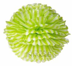 New! Chartreuse Green 15 Inch Tissue Paper Pom Pom (striped design)