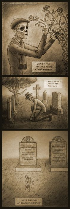 Elderly Erik Visits Christine's Grave by ofbeautsandbeasts.deviantart.com on @DeviantArt Phantom of the Opera fanart