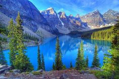 Moraine Lake, Banff, Rocky Mountain, Canada (Photo: Getty Images) via Banff National Park Canada, National Parks, Rocky Mountains, Moraine Lake, Beautiful Places In The World, Beautiful Sites, Beautiful Scenery, Beautiful Pictures, Palawan