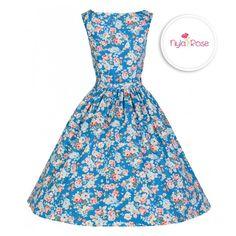 Lindy Bop Sky Blue Spring Garden Audrey Dress. We would wear this lovely vintage dress for a wedding! £35 <3 nyla-rose.com